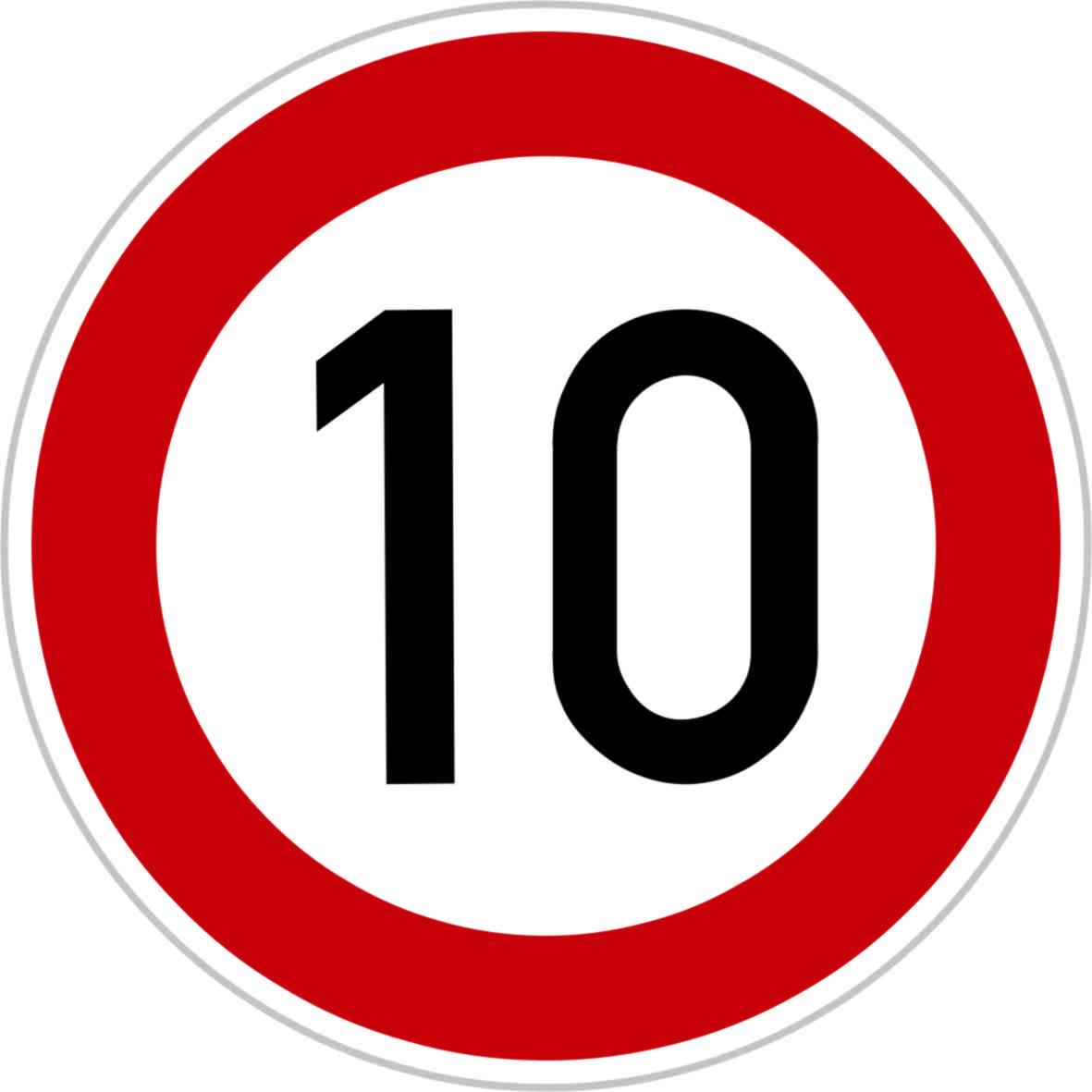 Dopravní značka B20a - 10 km/hod.