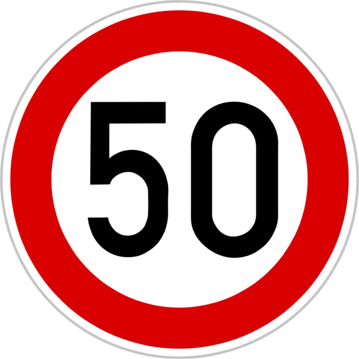 Dopravní značka B20a - 50 km/hod