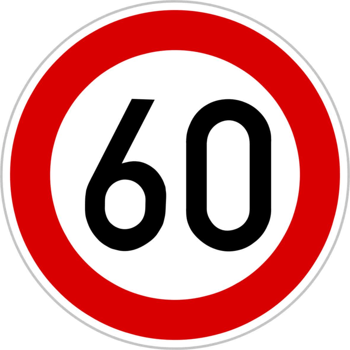 Dopravní značka B20a - 60 km/hod