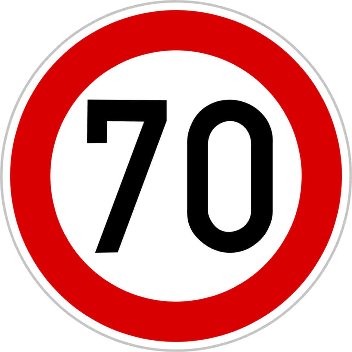 Dopravní značka B20a - 70 km/hod