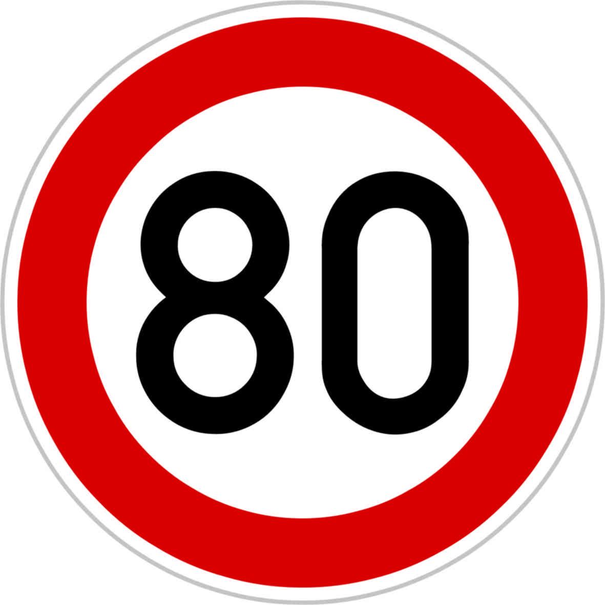 Dopravní značka B20a - 80 km/hod