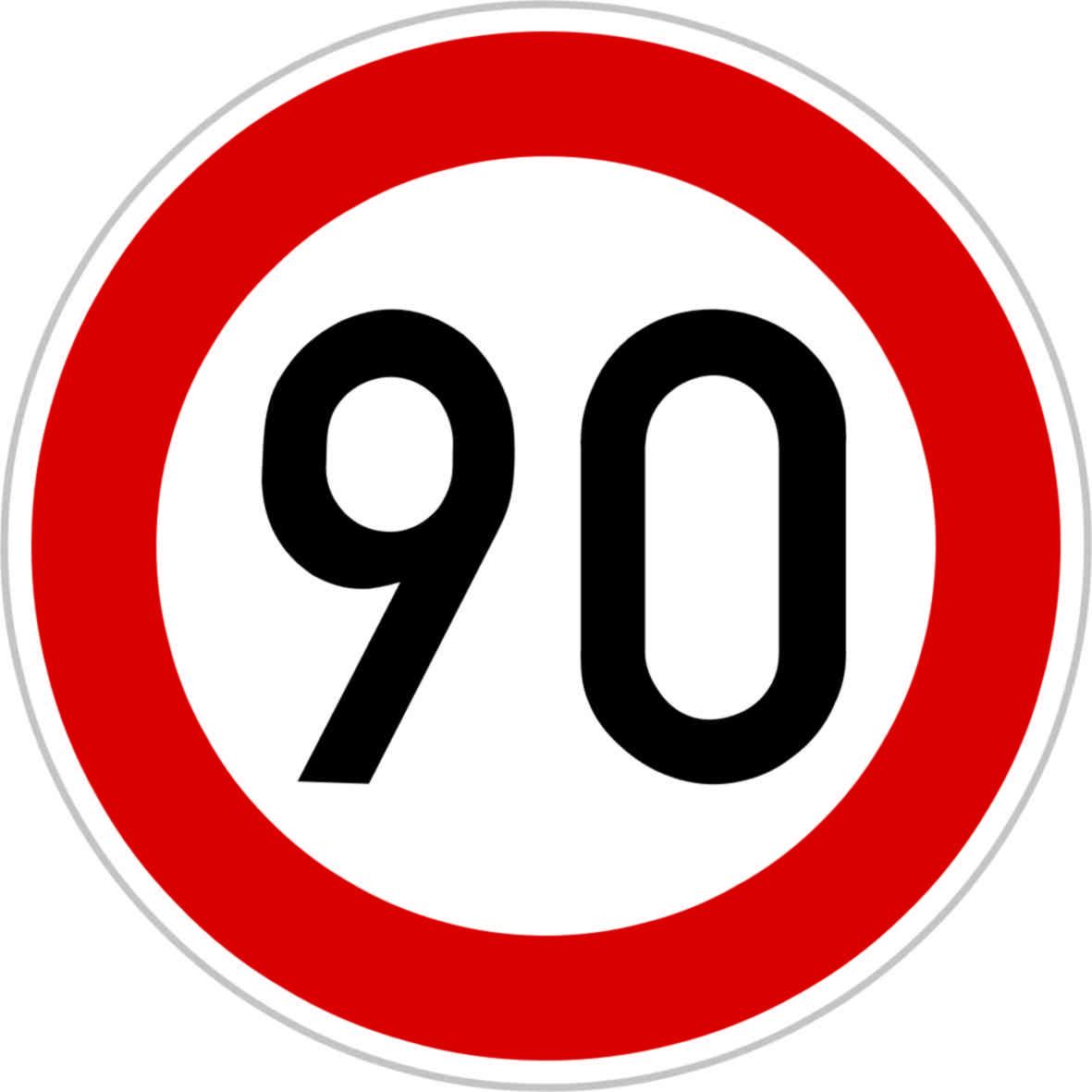 Dopravní značka B20a - 90 km/hod